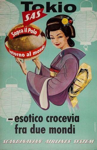 Vintage SAS Scandinavian Airlines Flights to Tokyo Japan Poster  A3 Print