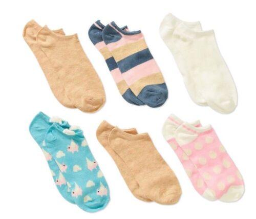NO BOUNDARIES Ladies 6-Pack No Show Socks NWT Shoe size 4-10