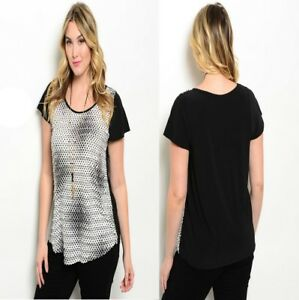 T51-Womens-Black-Plus-Size-14-16-Pullover-Polka-Summer-Sexy-T-Shirt-Blouse-Tops