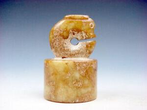 Antiguo-Nefrita-Jade-Tallado-Hongshan-Escultura-Sello-Pisapapeles-Con-Dragon