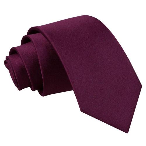 DQT raso Plain Solid Color Prugna Formale Matrimonio Cravatta Sottile Da Uomo