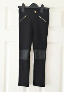 VGC-Girls-H-amp-M-black-faux-leather-knees-trousers-pants-size-5-6-Years
