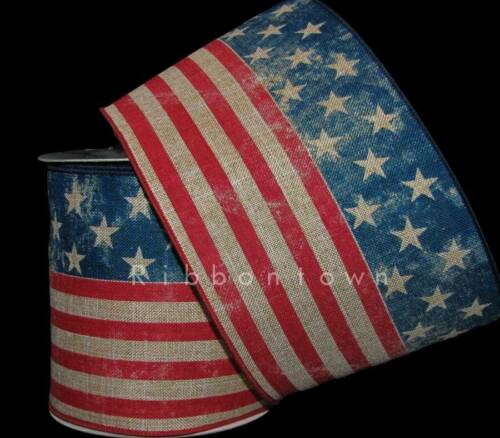 "10 Yards Patriotic Rustic American Flag Tea July 4th Memorial Wired Ribbon 4/""W"