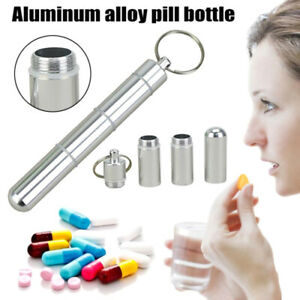 Mini-Keyring-Pill-Holder-Medicine-Tablet-Box-Key-Chain-Drug-Container-Money-QA