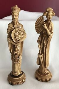 Details About Oriental Asian Statues Figurines Carved In Resin Stone