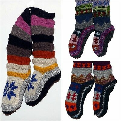 Woolly Fleece Lined Slipper Socks Bed Lazy Chunky Knit Warm Slouch Gift Acrylic