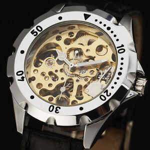Mens-Unisex-watches-skeleton-Case-leather-strap-Analog-Mechanical-Hand-winding