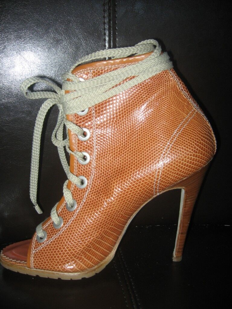 Manolo Blahnik Lizard Leather Lace Up Open Toe Ankle Ankle Ankle Booties Boots shoes Size 38 d25ab4