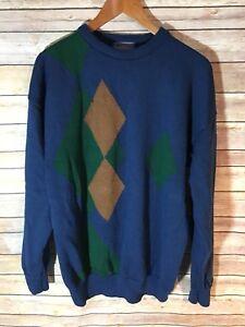 de lana para Pendleton tamaño redondo de suéter grande azul hombre cuello 41W6cC