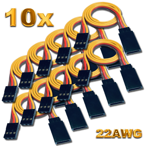 10-servos-Graupner-JR-robbe-Futaba-extension-cable-30-cm-22AWG-cable-RC