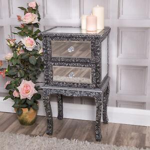 Mirrored-Bedside-Table-Black-Silver-Modern-Venetian-Bedroom-Furniture-Home-Decor