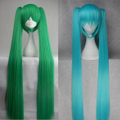 "120cm 48"" Super Long Vocaloid Hatsune Miku Cosplay Hair Wig + 2 Clip On Ponytail"