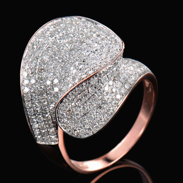 1CT Natural Diamond Engagement Cluster Women Ring Solid 14K pink gold Jewelry