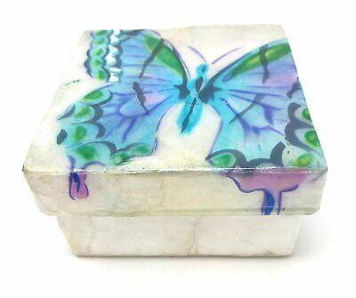 Kubla Craft Capiz Shell Trinket Box Colorful Pineapple