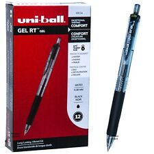 Uni Ball Signo Rt Gel 69034 Black Gel Ink 038mm Micro Point Pen Box Of 12