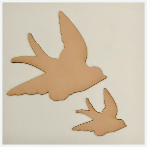 Set of 2 Flying Bird Birds MDF Shape DIY Raw Cut Out Art Laser Craft Decor 3mm