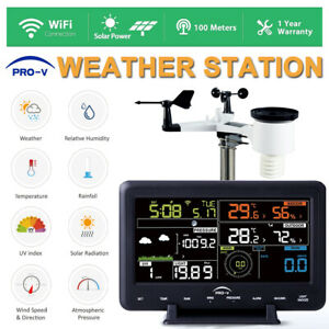 Weather-Station-WiFi-Wireless-Solar-Powered-UV-Indoor-Outdoor-Alarm-Clock-LCD
