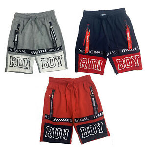 Boys-Kids-Shorts-Fleece-Zip-Pockets-Summer-Fashion-Black-Navy-Grey