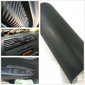 38cmx100cm 3d black carbon fiber vinyl car diy wrap sheet roll film car sticker ebay. Black Bedroom Furniture Sets. Home Design Ideas