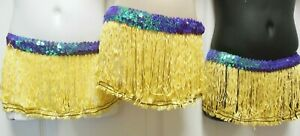 Lot-of-6-Costume-Yellow-FringeSkirts-Lilac-Sequin-Small-Ch-sz-4-6-Pullup