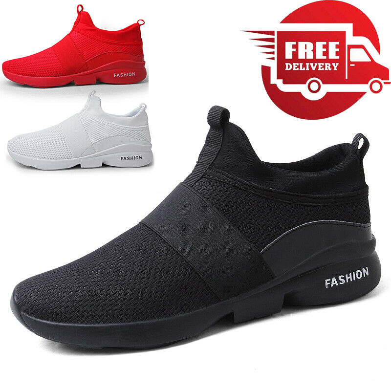 Men's Breathable Trainers Casual Slip On Sneakers Athletic Running Tennis Shoes