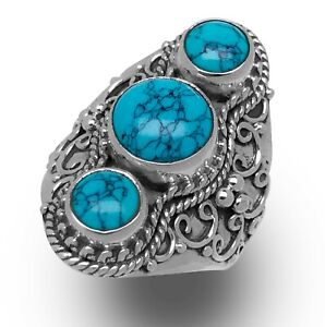 New-925-Sterling-Silver-Stunning-Triple-TURQUOISE-Gothic-Big-Ring-Gift-Boxed