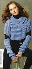 ~ Knitting Patterns For Lady's Cropped Jacket, Armwarmers, Hat & Scarf ~