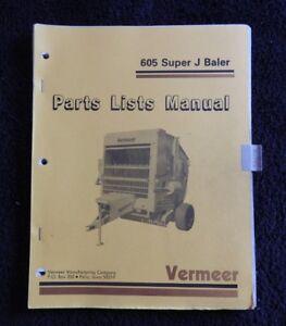 GENUINE-VERMEER-605J-605-SERIES-SUPER-J-BALER-PARTS-CATALOG-MANUAL-VERY-GOOD