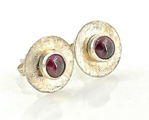 Textured-Sterling-Silver-amp-Red-Tourmaline-Petite-Dot-Stud-Earrings-Vintage