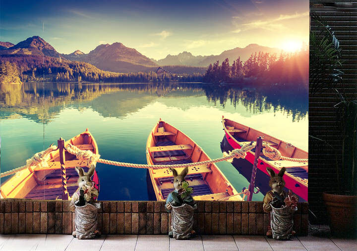 3D Boat lake reflection WallPaper Murals Wall Print Decal Wall Deco AJ WALLPAPER