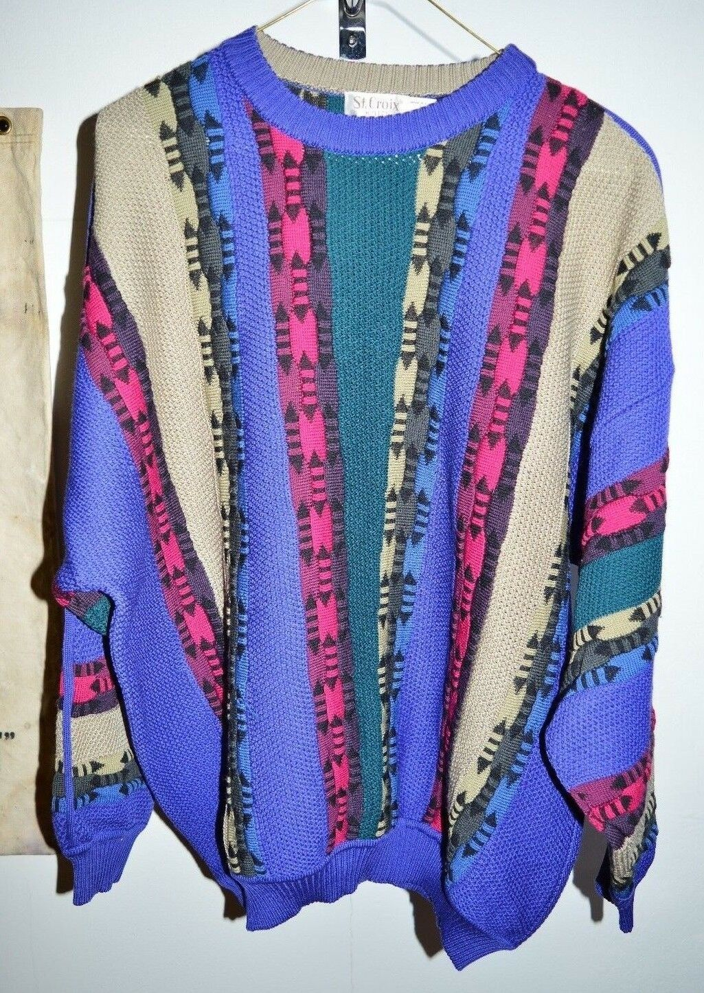 VTG St Croix Knits 100% Zephyr Wool Textured Multicolor Abstract Pattern Men's L