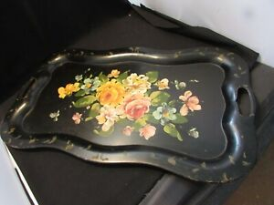 Shabby Chic Large Hand Painted Black Roses & Vines Antique Tole Metal Tray 25""