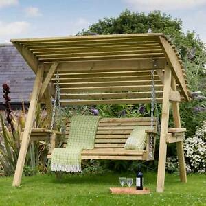 Image Is Loading Garden Wooden Swing Seat W Canopy Patio Chair