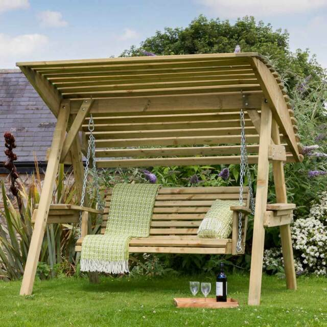 Garden Wooden Swing Seat W Canopy Patio Chair Outdoor Furniture