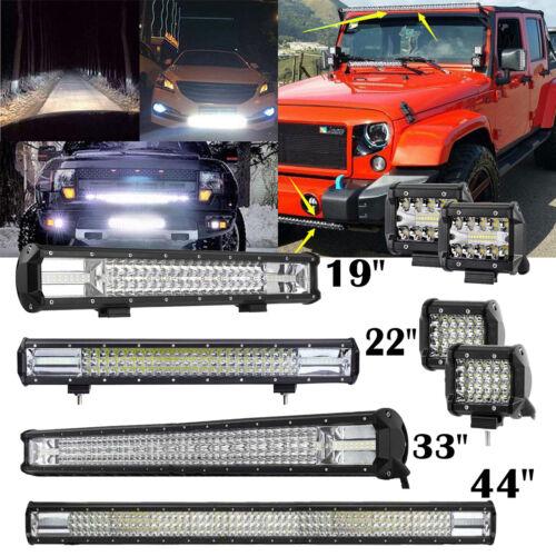 "3 Row 44/""Inch LED Light Bar Flood Spot Combo Driving Lamp Wiring Kit 33/""  19/"" 4/"""
