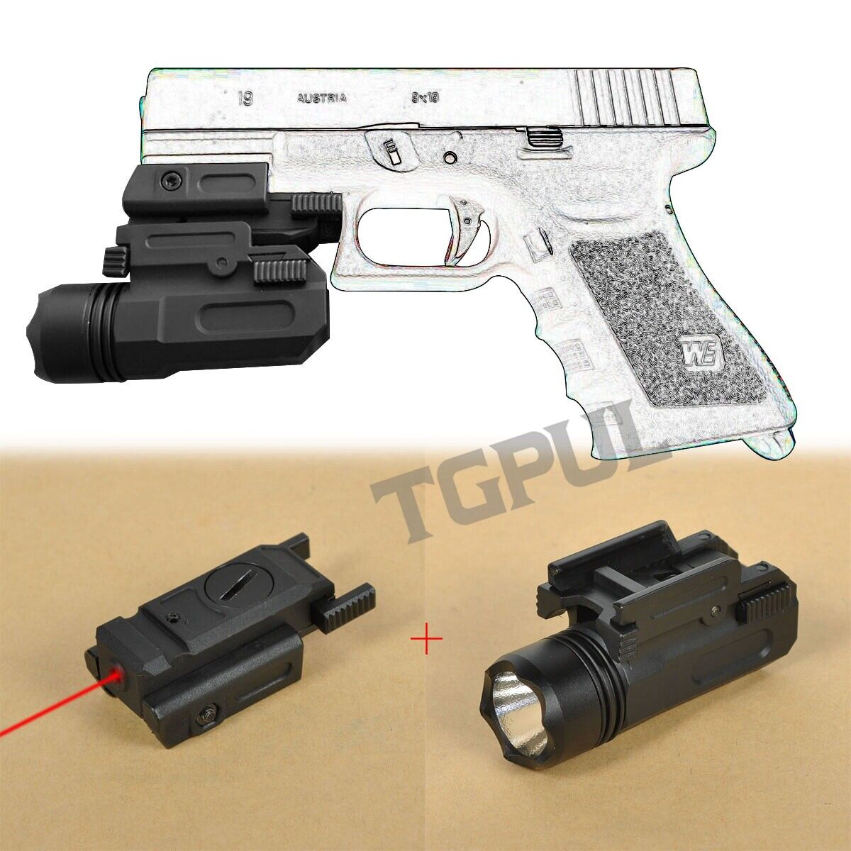 Airsoft Mini Pistol Light Qd Handgun Flashlight Laser Fit Glock 17 19 18c 24 Ebay