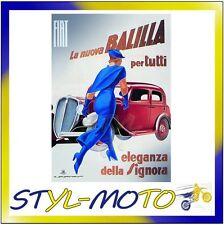FIBL05 FIAT 500 CARTOLINA IN LATTA CM 15X21 ...SIGNORA/FIAT UFFICIALE ORIGINALE