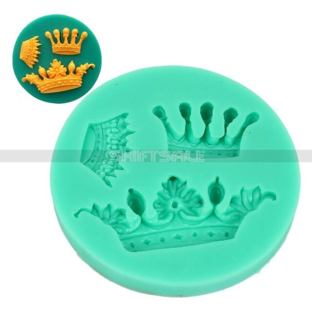 3 Crown Tiara Princess Silicone Fondant Icing Cake Topper Cookie Mold Decor Mat