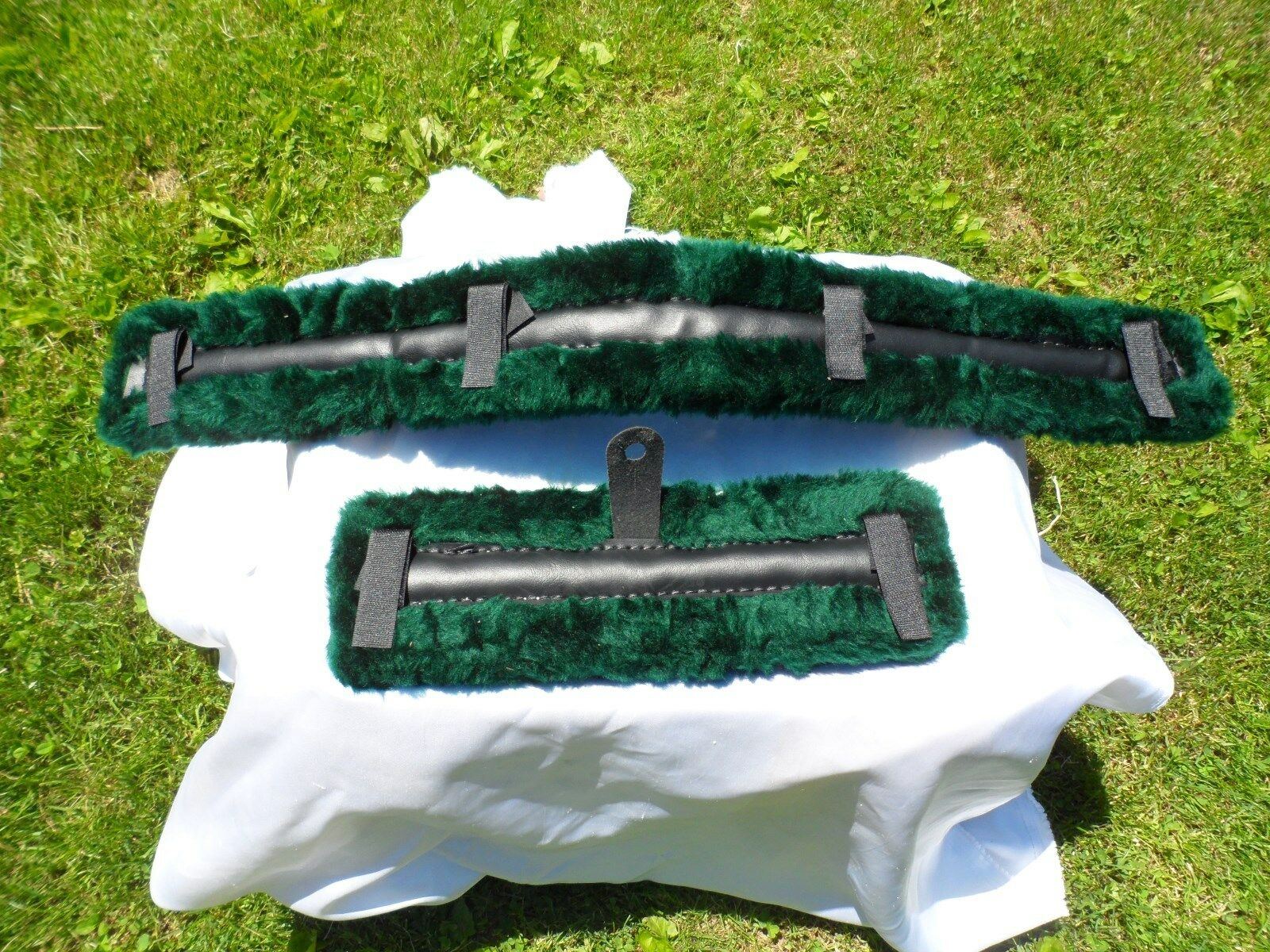 Miniature Horse Fleece Harness Saddle & Breast Collar Pads Set Amish Made GREEN