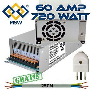 Trasformatore Alimentatore Stabilizzato 60A Amp - Out 12V Imput 220V - 720 Watts