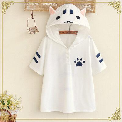 Kawaii Cute Sweet Lolita Japanese Mori Girl Preppy Cat Ears T-Shirt Hoodie Tops