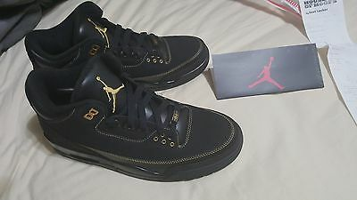 2011 Nike Air Jordan III 3 Retro BHM BLACK HISTORY MONTH GOLD CEMENT GREY sz 9.5