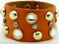 Hip Hop Urban Fashion Orange Leather Bracelet Gold Rivet Studs & Crystal Bling