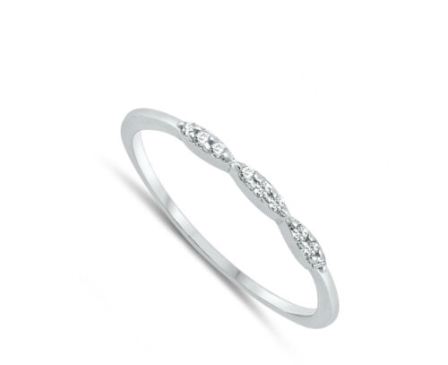 Round White CZ Dainty Marquise Ring 925 Sterling Silver Stacking Band Sizes 2-10