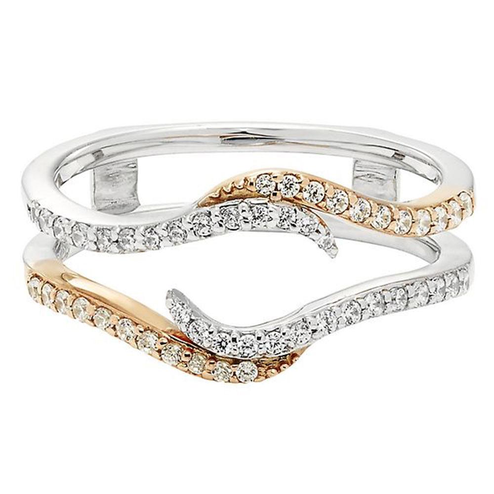 Pave Set Solitaire Enhancer White Diamond Ring Guard Wrap 14k Two Tone gold Fn