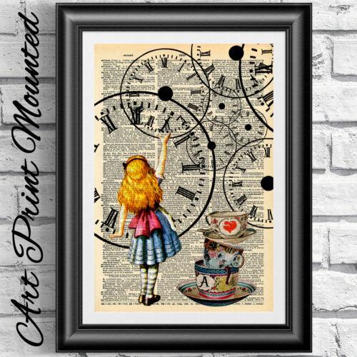 Dictionnaire original livre d/'art page imprimer Alice au pays des merveilles steampunk Horloge Cadeau