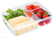 Kitchen Airtight 3 Section Plastic Food Storage Container Ideal Lunch Box Gift