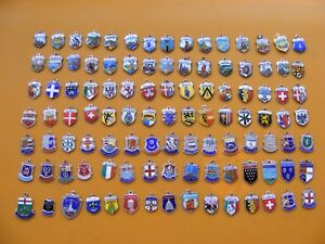 15 VINTAGE 800 /& STERLING SILVER CHARM CHARMS UK /& EUROPE TRAVEL SHIELD