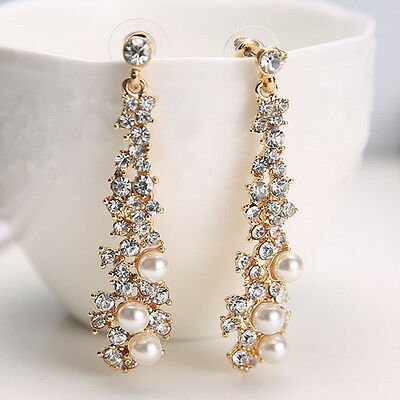 Elegant Chic Women Lady's Pearl Rhinestone Dangle Chandelier Earrings Jewelry