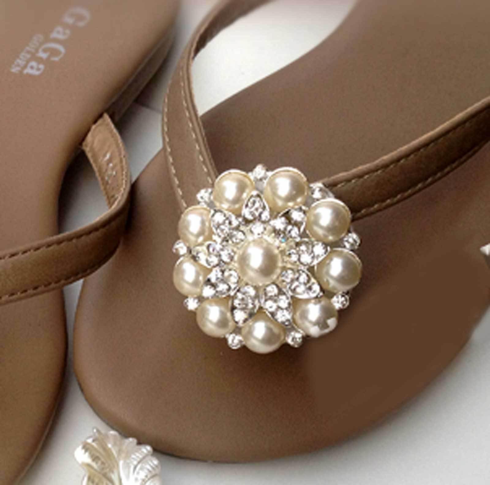 2 Pcs Wedding Crystal Pearl Flower Shoes Flip Flop Slippers Sandals Shoe Clips